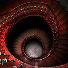 Spiral stairs in red tones by JBlaminsky