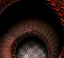 Spiral stairs in red tones Sticker