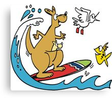 Cartoon kangaroo on surfboard with fish Canvas Print