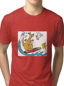 Cartoon kangaroo on surfboard with fish Tri-blend T-Shirt