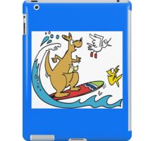 Cartoon kangaroo on surfboard with fish iPad Case/Skin