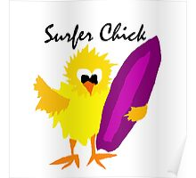 Cool Funny Surfer Chick Cartoon Poster