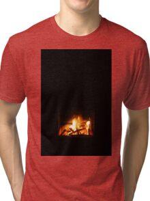 Warm fire in fireplace Tri-blend T-Shirt