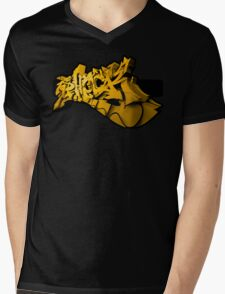 Graffiti SHOCK 3D (Yellow) Mens V-Neck T-Shirt