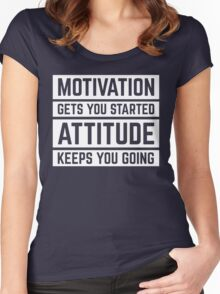 Motivation Gets You Started Gym Quote Women's Fitted Scoop T-Shirt