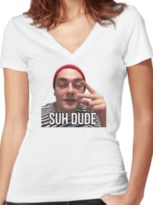 Suh Dude - Beanie Women's Fitted V-Neck T-Shirt