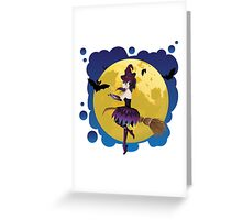 Witch and Full Moon 4 Greeting Card