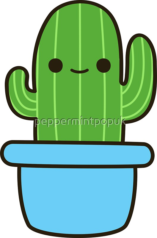 """""""Cute cactus in blue pot"""" Stickers by peppermintpopuk ..."""