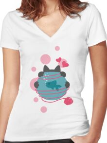 Pink Wool Web  Women's Fitted V-Neck T-Shirt
