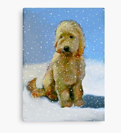 Golden Doodle Dog in Snow: Original Oil Pastel Painting Canvas Print