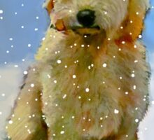 Golden Doodle Dog in Snow: Original Oil Pastel Painting Sticker