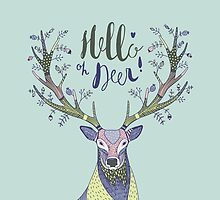hand drawn illustration with deer and text Hello Deer by NineHomes