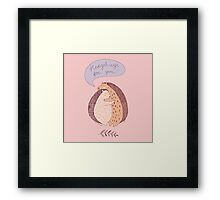 cute drawing with two hugging hedgehogs Framed Print