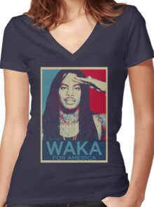 Waka Flocka For President Women's Fitted V-Neck T-Shirt