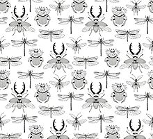 seamless pattern with various hand drawn insects by NineHomes