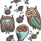 Owls on yellow background by EkaterinaP