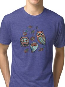 Owls on yellow background Tri-blend T-Shirt