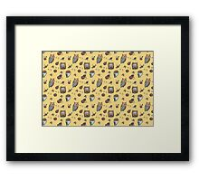 Owls on yellow background Framed Print