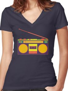 boombox - old cassette - Devices Women's Fitted V-Neck T-Shirt