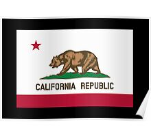 CALIFORNIA, Californian Flag, Flag of California, California Republic, America, The Bear Flag, State flags of America, American, USA, on BLACK Poster