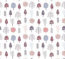cute seamless pattern with hand drawn trees by NineHomes
