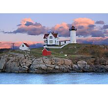 Sunset at Cape Neddick (Nubble) Lighthouse, York, Maine Photographic Print