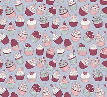 cute hand drawn pattern with cupcakes by NineHomes