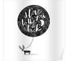 hand drawn cute illustration with a deer, ballon and text Poster