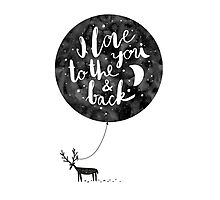 hand drawn cute illustration with a deer, ballon and text Photographic Print