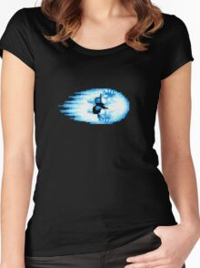 Street Fighter Hadouken Fireball pixel pattern Women's Fitted Scoop T-Shirt