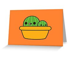 Cute cactus in yellow pot Greeting Card