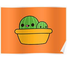 Cute cactus in yellow pot Poster