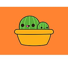 Cute cactus in yellow pot Photographic Print