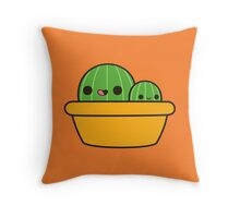 Cute cactus in yellow pot Throw Pillow