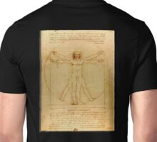 Leonardo da Vinci, The Vitruvian Man, c. 1485, Accademia, Venice, on BLACK Unisex T-Shirt