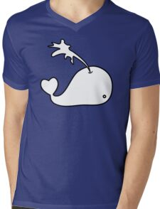 Cartoon Whale Mens V-Neck T-Shirt