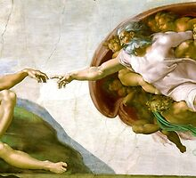 Michelangelo, The Creation of Adam, 1510, Touch of God by TOM HILL - Designer