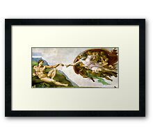 Michelangelo, The Creation of Adam, 1510, Genesis, ceiling, Sistine Chapel, Rome, Touch of God Framed Print