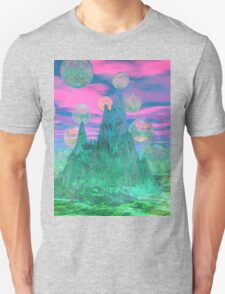 Poetic Mountain at Dawn, Glorious Pink Green Sky T-Shirt