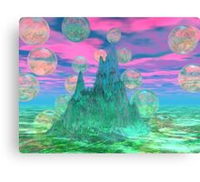 Poetic Mountain at Dawn, Glorious Pink Green Sky Canvas Print