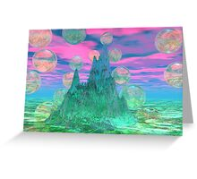 Poetic Mountain at Dawn, Glorious Pink Green Sky Greeting Card