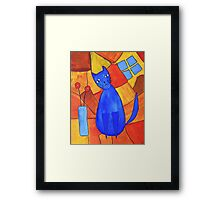 Whimsical Blue Cat And Red Poppies Framed Print