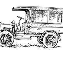 1920's Truck, Old Car Drawing by tshirtdesign
