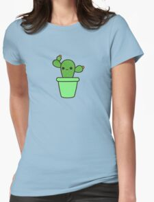 Cute cactus in green pot Womens Fitted T-Shirt