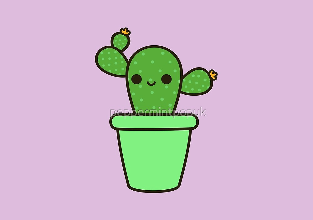 """""""Cute cactus in green pot"""" by peppermintpopuk   Redbubble"""
