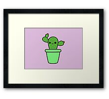 Cute cactus in green pot Framed Print