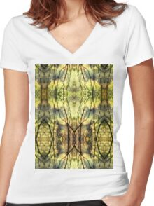 Abstract Yellow Trees Women's Fitted V-Neck T-Shirt
