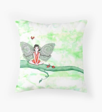 Ladybug Fairy Throw Pillow