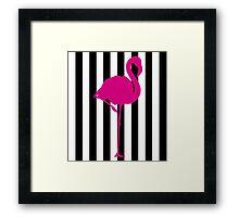 Hot Pink Flamingo on Black and White Stripe Framed Print