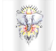 Elephant & Lotus Poster
